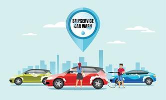 Self service car wash flat color vector illustration