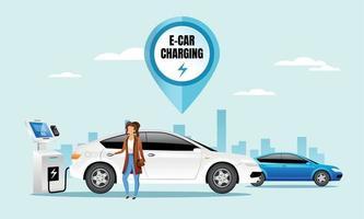 E car charging station flat color vector illustration