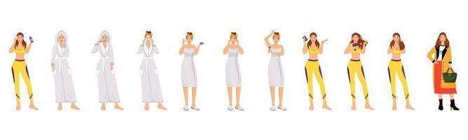 conjunto de caracteres vectoriales de color plano de rutina matutina de mujer vector