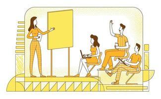 Ilustración de vector de silueta plana de coaching empresarial