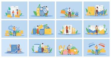 Taxes and payments flat concept vector illustrations set