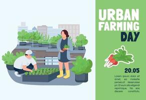 plantilla de vector plano de banner de día de agricultura urbana