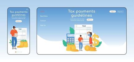 Tax payments guidelines adaptive landing page flat color vector template