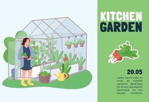 Kitchen garden banner flat vector template