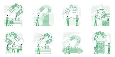 NFC technologies benefits thin line concept vector illustrations set