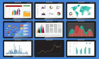 Various monitors display graphs and charts. In business analysis vector