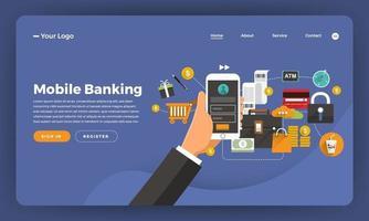 Mock-up design website flat design concept digital marketing. Mobile banking.  Vector illustration.