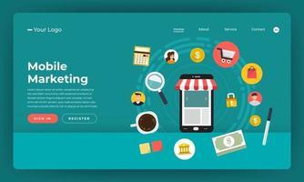 Mock-up design website flat design concept digital marketing. Mobile marketing.  Vector illustration.