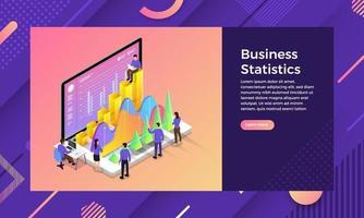 isometric business statitic vector