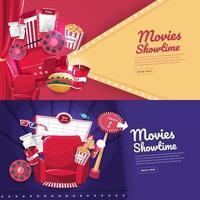 diseño de banner de cine de película vector