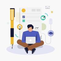 hombre de negocios trabajando laptop vector