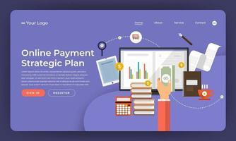 Mock-up design website flat design concept digital marketing. Online Payment Plan. Vector illustration.