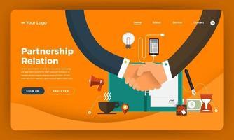 diseño de maqueta concepto de diseño plano de sitio web marketing digital. relación de asociación. ilustración vectorial. vector