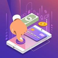 Isometric Online Payment vector