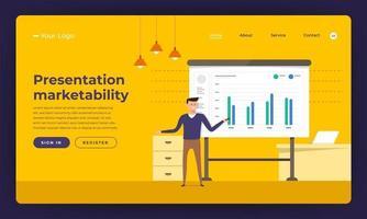 Mock-up design website flat design concept presentation skill marketability.  Vector illustration.