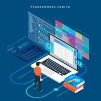Isometric flat design concept programmer and coding. Vector illustration. Website layout design.