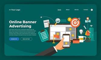 Mock-up design website flat design concept digital marketing. Online Banner Advertising.  Vector illustration.