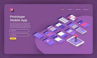 diseño de maqueta concepto de diseño plano sitio web prototipo de página de destino pantalla de estructura metálica de aplicación móvil en el teléfono inteligente. ilustración vectorial. vector