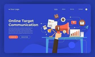 Mock-up design website flat design concept digital marketing. Online target communication. Vector illustration.