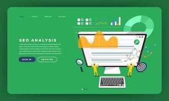 Mock-up design website flat design concept SEO analysis with graph and chart on team developer building a rank website on desktop. Vector illustration.