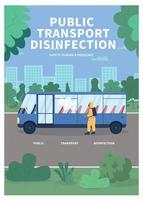 Public transport disinfection poster flat vector template
