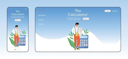 Tax calculator adaptive landing page flat color vector template. Bills payment mobile and PC homepage layout. Taxpayers tool one page website UI. Financial literacy webpage cross platform design