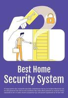 Best home security system poster flat silhouette vector template