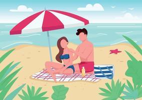 Couple applying sunblock lotion on beach flat color vector illustration