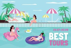 Best tours poster flat vector template