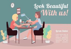 Look beautiful with us banner flat vector template