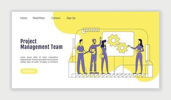 Project management team landing page flat silhouette vector template
