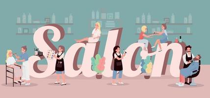 Salon word concepts flat color vector banner
