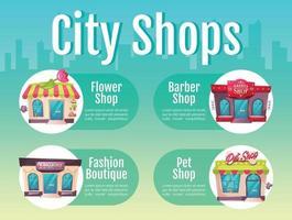 plantilla de infografía informativa de vector de color plano de tienda de ciudad