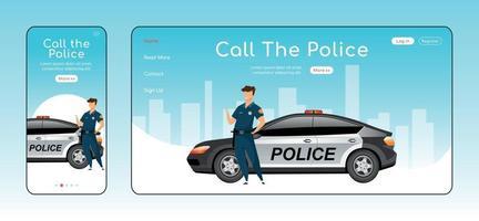 conjunto de plantillas vectoriales planas de página de aterrizaje sensible a la policía vector