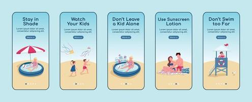 Beach safety rules onboarding mobile app screen flat vector template set