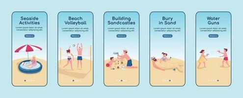 Beach games onboarding mobile app screen flat vector template set
