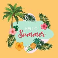 Collection of summer background set with fruit vector
