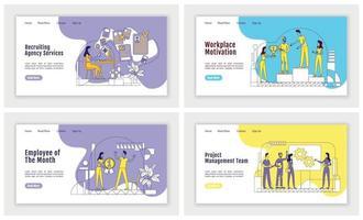 HR management landing page flat silhouette vector template set