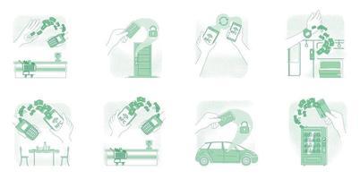 NFC tech, smart devices thin line concept vector illustrations set