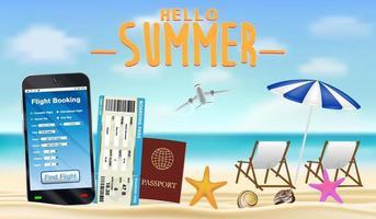 smartphone with online flight booking app on beach vector