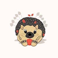 cute chubby hedgehog vector