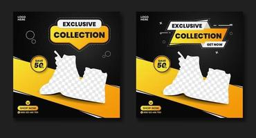 Exclusive shoes promo square web banner template vector