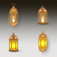 Vintage golden brown lantern collection vector
