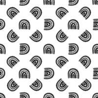 Rainbow black and white pattern. Black rainbow pattern. Hand-drawn vector illustration in a minimalistic Scandinavian style