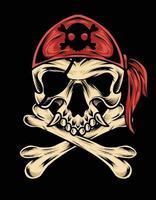 diseño de vector de ilustración de calavera pirata