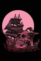 ilustración, pirata, cráneo, vector, diseño vector