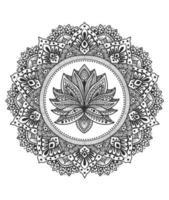 Ilustración círculo mandala con flor de adorno de loto vector