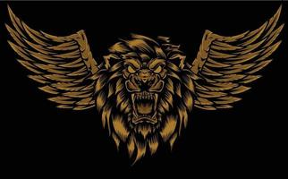 angry lion head with wings illustration vector