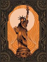 liberty statue with vintage ornament vector