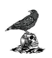 Ilustración pájaro cuervo con cabeza de calavera vector